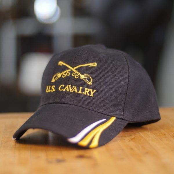 Black Baseball Cap With Yellow and White Stripes U.S. Cavalry