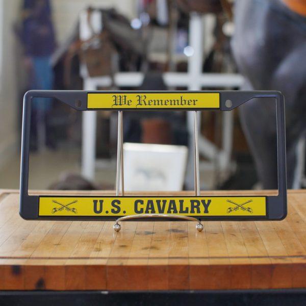 US Cavalry Metal License Plate Frame (Black)
