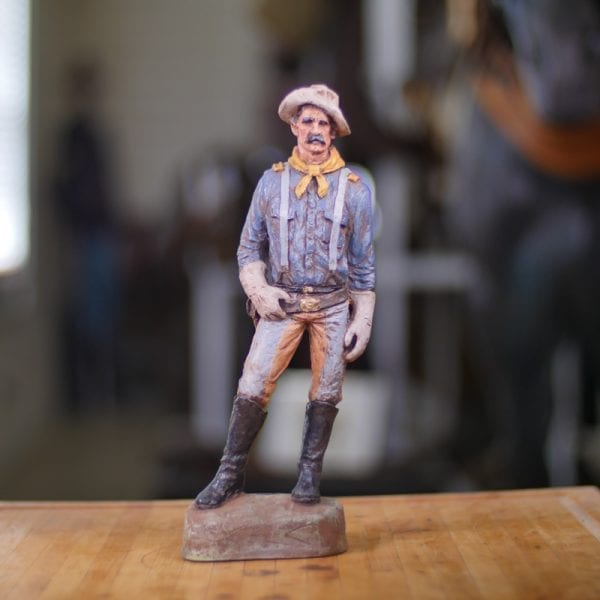 Statue Cavalry Man Captain Bronze Hand Painted Front View