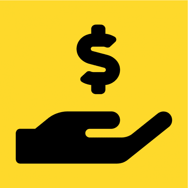 Money sign over Hand for Donation Icon