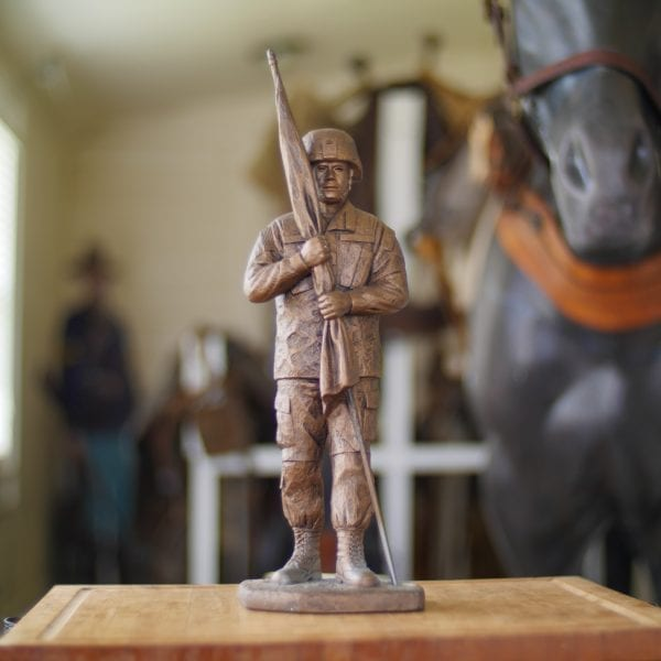 Command Sergeant Major With Kevlar Helmet Statue Front View
