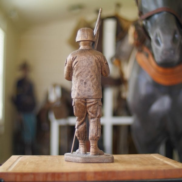 Command Sergeant Major With Kevlar Helmet Statue Back View